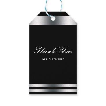 Professional Business Black & Silver Elegant Engagement Wedding Favor Gift Tags