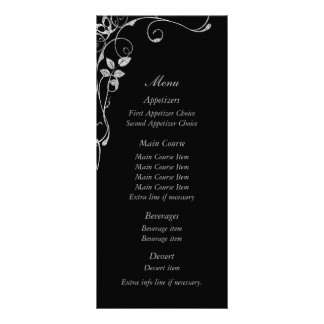 Black Silver Faux Diamond Heart Swirl Wedding Menu Customized Rack Card