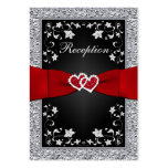 Black Silver FAUX Foil, Floral, Red Reception Card Large Business Cards (Pack Of 100)