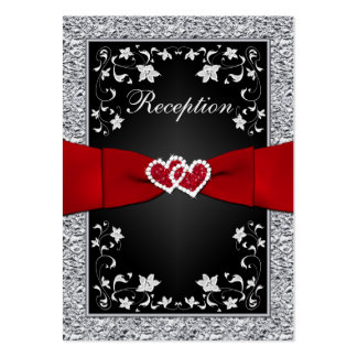 Black Silver FAUX Foil, Floral, Red Reception Card Large Business Card