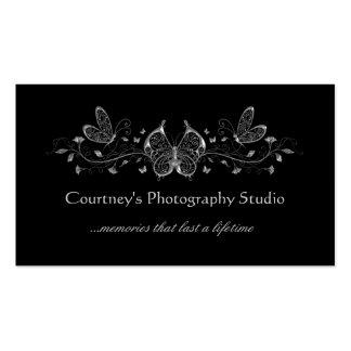 Black Silver Filigree Butterflies Business Cards