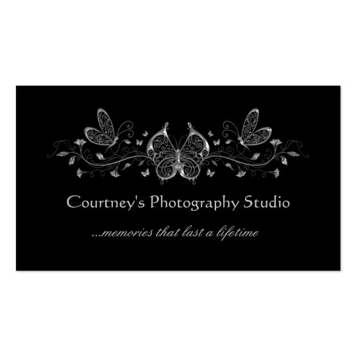Black Silver Filigree Butterflies Business Cards