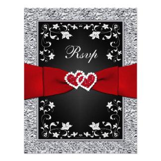 Black Silver Floral Hearts FAUX Foil RSVP Invites