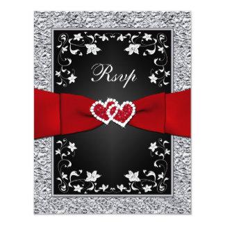 Black Silver Floral Hearts FAUX Foil RSVP 4.25x5.5 Paper Invitation Card