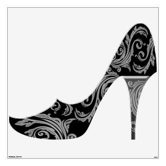 Black silver girly fashion shoe room graphic
