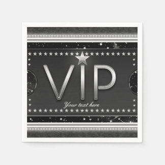 Black & Silver Glam Stars VIP Ticket Custom Party Paper Napkin