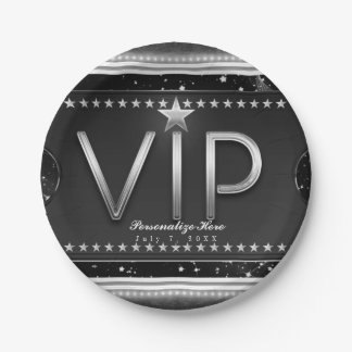 Black & Silver Glam Stars VIP Ticket Custom Party Paper Plate