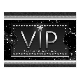 Black & Silver Glam VIP Stars Event Party Postcard