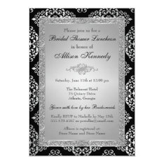 Black, Silver Glitter Damask Bridal Shower Invite at Zazzle