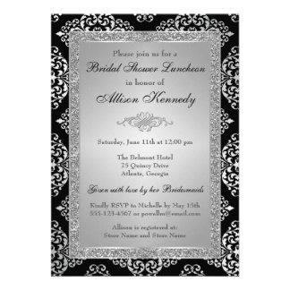 Black Silver Glitter Damask Bridal Shower Invite