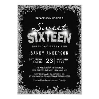 Black Silver Glitter Diamond Sweet 16 Sixteen Card