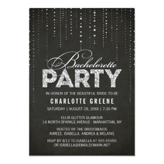 Black & Silver Glitter Look Bachelorette Party Card