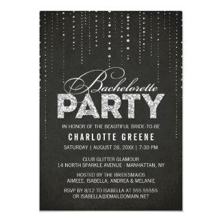 Black & Silver Glitter Look Bachelorette Party Card