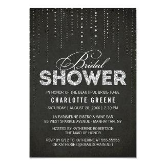 Black & Silver Glitter Look Bridal Shower Card