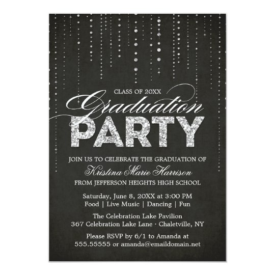 Black & Silver Glitter Look Graduation Party Card