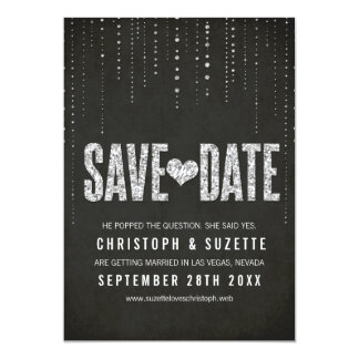 Black & Silver Glitter Look Save The Date Card