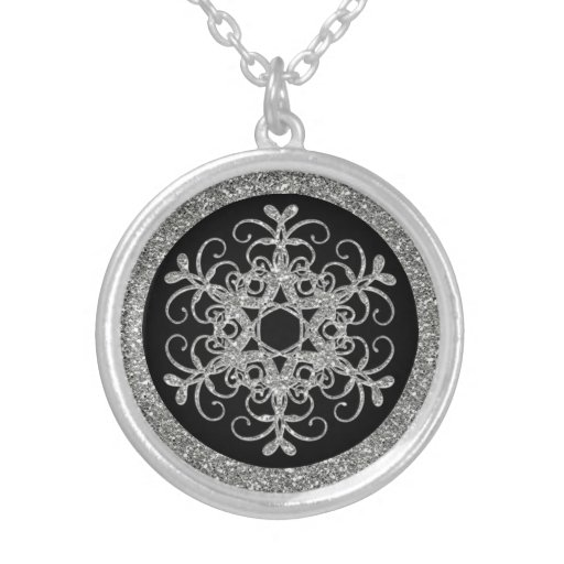 Black, Silver Glitter LOOK Snowflake Necklace