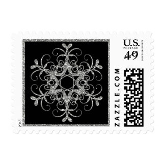 Black, Silver Glitter LOOK Snowflake Postage