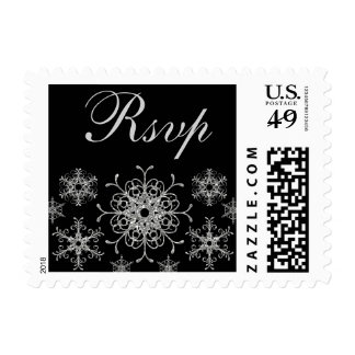 Black, Silver Glitter LOOK Snowflake RSVP Postage