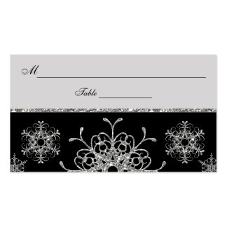 Black, Silver Glitter LOOK Snowflakes Placecards Business Card Template