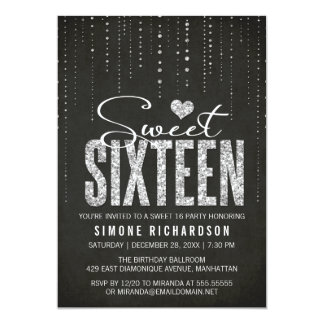 Black & Silver Glitter Look Sweet 16 Party Card