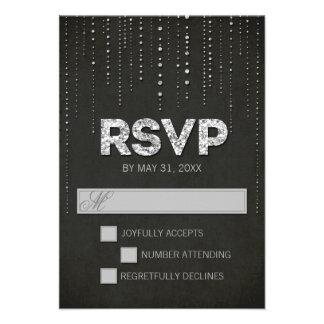 Black Silver Glitter Look Wedding RSVP Card