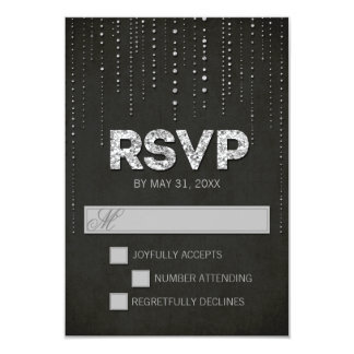 "Black & Silver Glitter Look Wedding RSVP Card 3.5"" X 5"" Invitation Card"