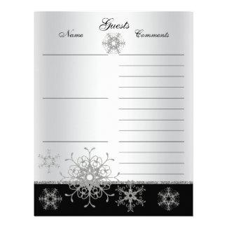 Black, Silver Glitter Snowflakes Guest Book Paper Personalized Letterhead
