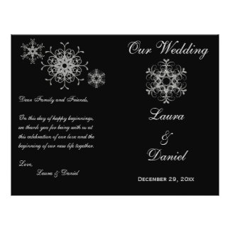 Black, Silver Glitter Snowflakes Wedding Program