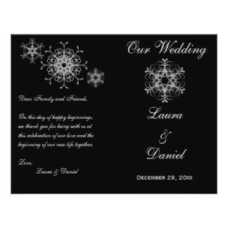 "Black, Silver Glitter Snowflakes Wedding Program 8.5"" X 11"" Flyer"