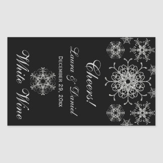 Black Silver Glitter Snowflakes Wine Label Sticker