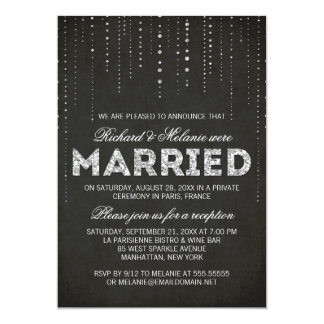 black silver glitter wedding reception only card - Wedding Reception Only Invitations