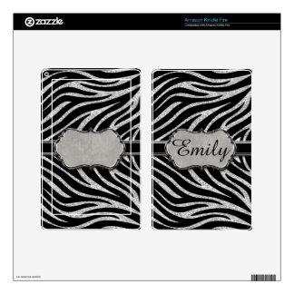 Black Silver Glitter Zebra Pattern Monogram Kindle Fire Decal
