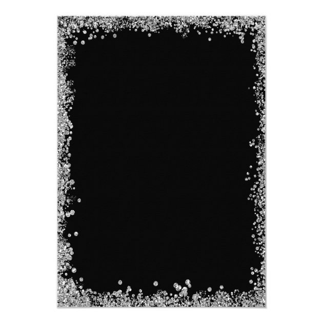 Black Silver Glitters New Year's Eve Party Card (back side)