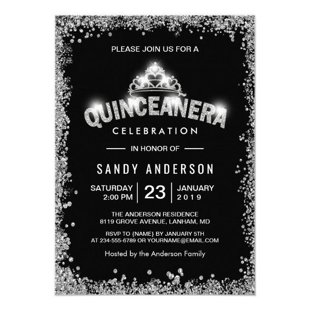 Black Silver Glitters Quinceanera 15th Birthday Card