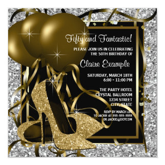Black Silver Gold High Heels Womans Birthday Party Card