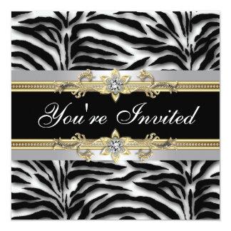 """Black Silver Gold Zebra All Occasion Party 5.25"""" Square Invitation Card"""