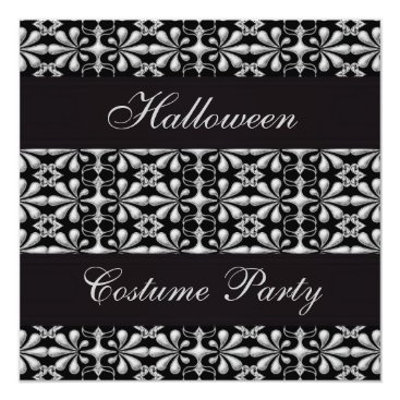 Gorgeously_Gothic Black & Silver Gothic Elegance Halloween Party Card