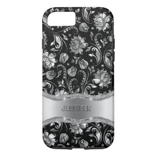 Black & Silver-Gray Floral Damasks iPhone 7 Case