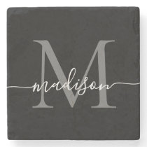 Black Silver Gray Monogram Feminine Script Name Stone Coaster