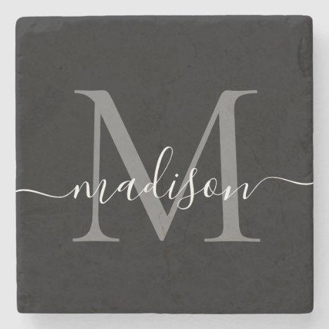 Black Silver Gray Monogram Feminine Script Name Stone Coaster