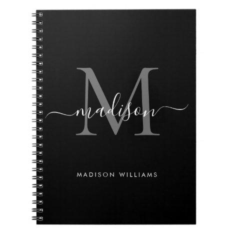 Black Silver Gray Monogram Script Name Initial Notebook