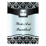 Black & silver grey  damask any occasion custom invitation
