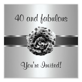 Black Silver Grey Flower Fabulous 40th Party Card