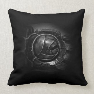 Black Silver Handcrafted Rose Throw Pillow