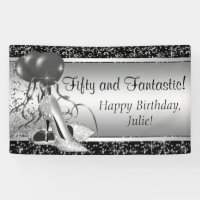 Black Silver High Heel Shoe Birthday Party Banner