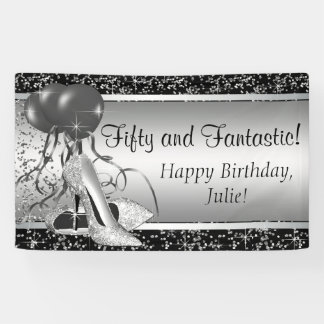 Black Silver High Heel Shoe Birthday Party Banner