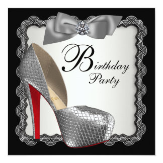 Black & Silver High Heel Shoe Birthday Party 5.25x5.25 Square Paper Invitation Card