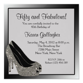 Black Silver High Heels Womans Birthday Customized 5.25x5.25 Square Paper Invitation Card