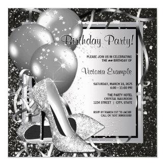 Black Silver High Heels Womans Birthday Party Invitation